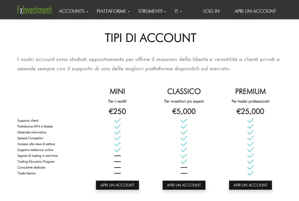 tipi di account fx investimenti